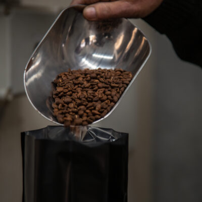 coffee beans being poured from metal scoop