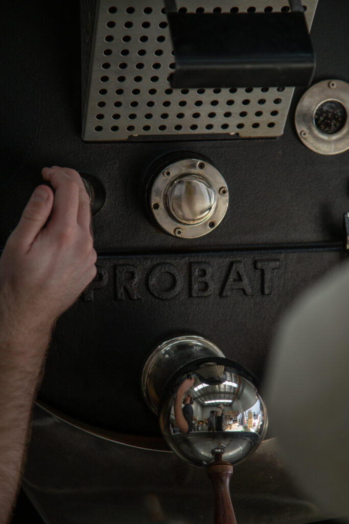 close up of coffee roasting equipment